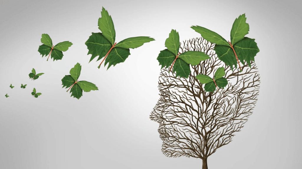人の脳を模した木の模型
